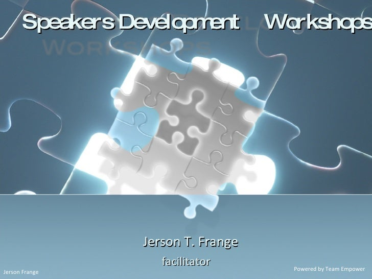 Jerson T. Frange facilitator Speakers Development  Workshops