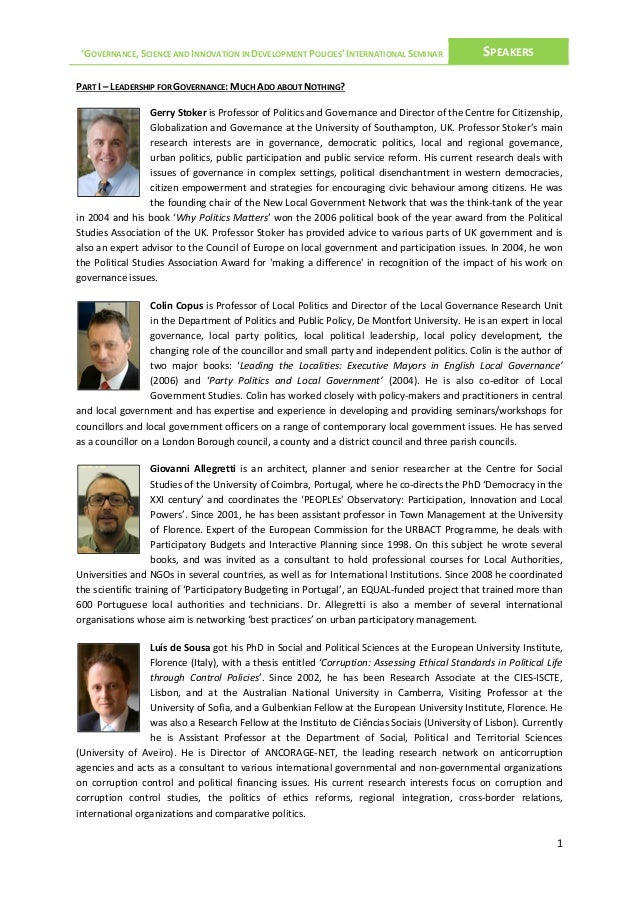 'GOVERNANCE, SCIENCE AND INNOVATION IN DEVELOPMENT POLICIES' INTERNATIONAL SEMINAR  SPEAKERS  PART I – LEADERSHIP FOR GOVE...