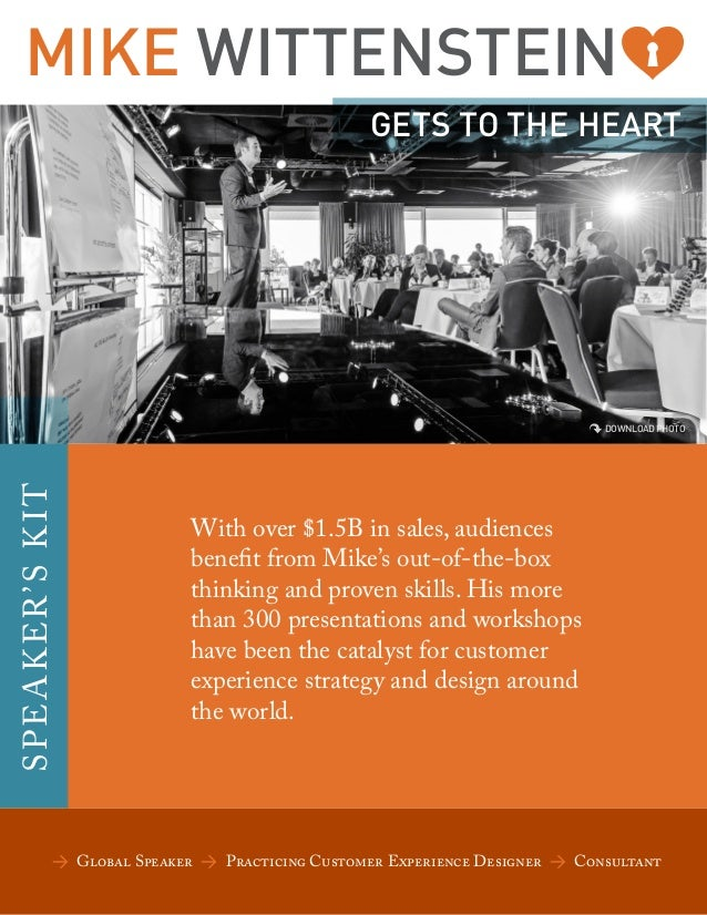 MIKE WITTENSTEIN GETS TO THE HEART  SP EA KER 'S KI T  DOWNLOAD PHOTO  With over $1.5B in sales, audiences benefit from Mi...