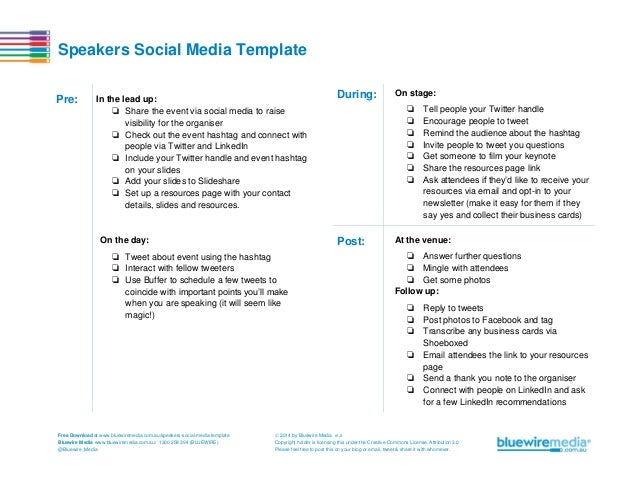 Speakers Social Media Template Pre:  In the lead up: ❏ Share the event via social media to raise visibility for the organi...