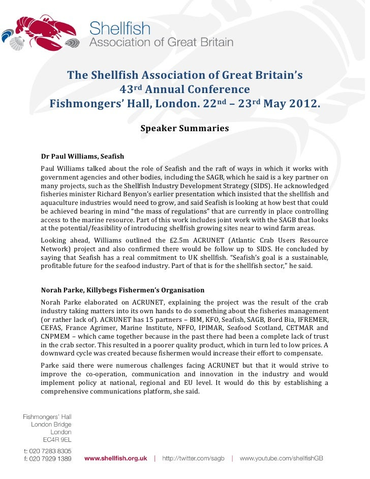 The Shellfish Association of Great Britain's              43rd Annual Conference  Fishmongers' Hall, London. 22nd – 23rd M...