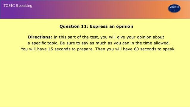 Toeic sample speaking test.