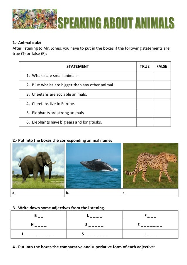 1.- Animal quiz:  After listening to Mr. Jones, you have to put in the boxes if the following statements are  true (T) or ...