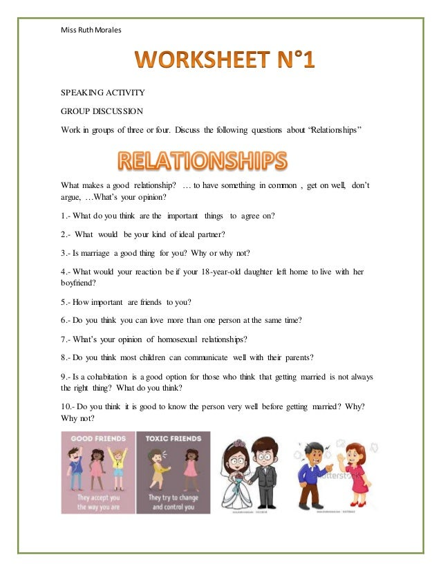 Miss RuthMorales SPEAKING ACTIVITY GROUP DISCUSSION Work in groups of three or four. Discuss the following questions about...