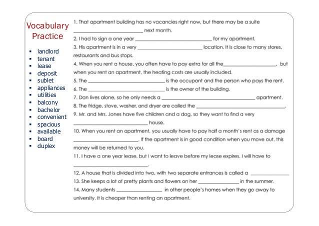 Vocabulary Practice  landlord  tenant  lease  deposit  sublet  appliances  utilities  balcony  bachelor  conveni...