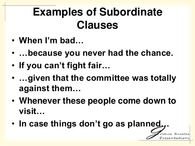 Examples Of Subordinate Clauses ...