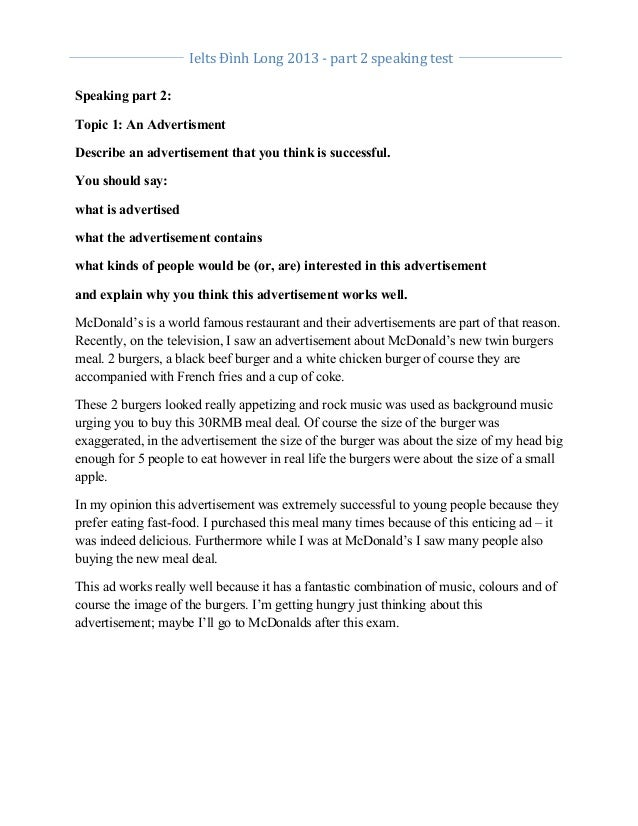 Ielts  Đình  Long  2013  -‐  part  2  speaking  test           Speaking part 2: Topic 1: An...