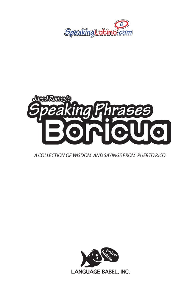 Speaking Phrases Boricua: Puerto Rican Sayings (Book Preview)