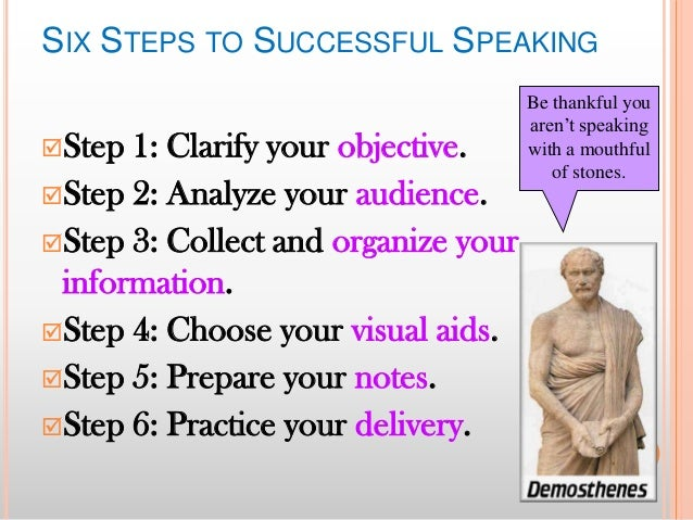 SIX STEPS TO SUCCESSFUL SPEAKING Step  1: Clarify your objective. Step 2: Analyze your audience. Step 3: Collect and or...