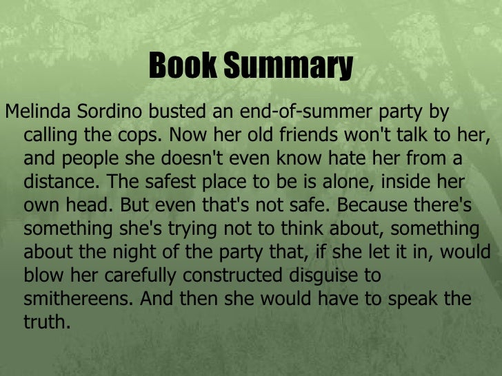 speak plot summary