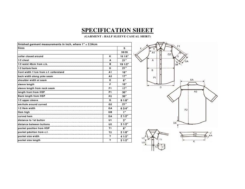 Spec Sheet Of A Casual Shirt