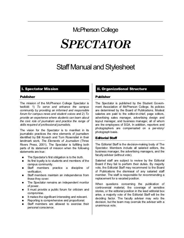 McPherson College                                  SPECTATOR                             Staff Manual and Stylesheet   I. ...