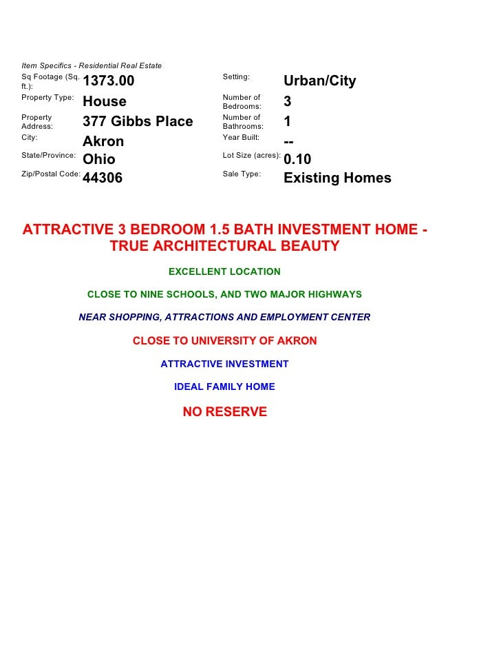 Item Specifics - Residential Real Estate Sq Footage (Sq.                                    Setting:                  1373...