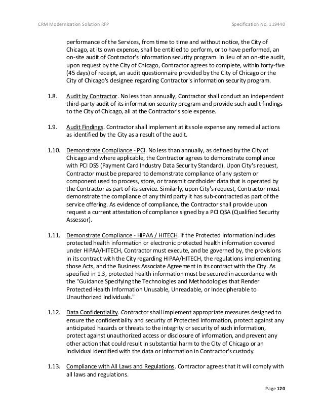 Specification No. 119440: RFP for New 311 System for the Municipal Government of the City of Chicago