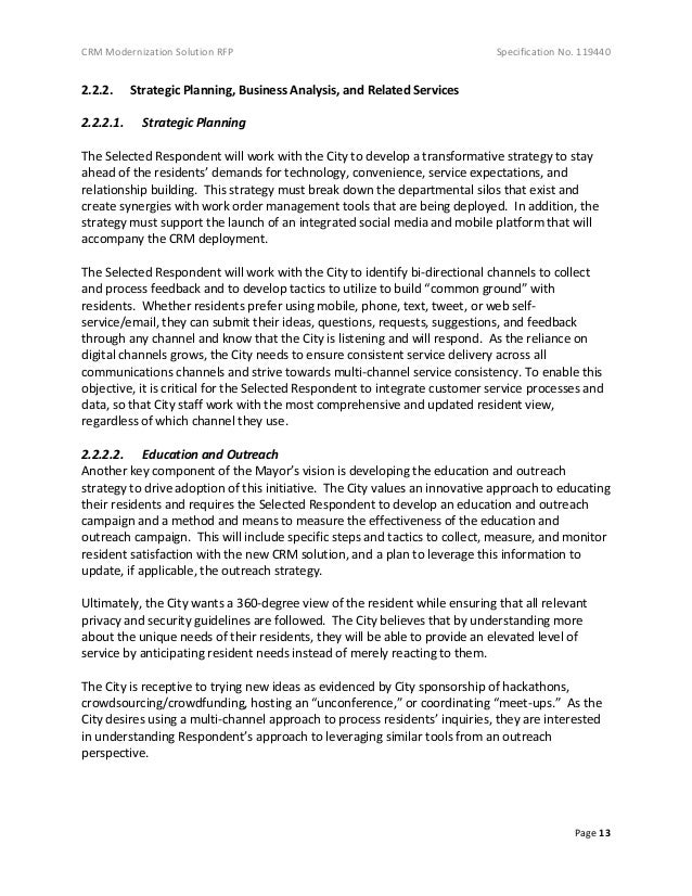 CRM Modernization Solution RFP Specification No. 119440 Page 13 2.2.2. Strategic Planning, Business Analysis, and Related ...
