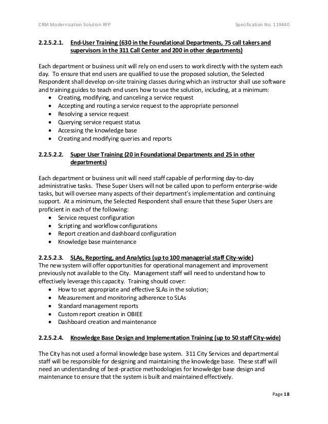 CRM Modernization Solution RFP Specification No. 119440 Page 18 2.2.5.2.1. End-User Training (630 in the Foundational Depa...