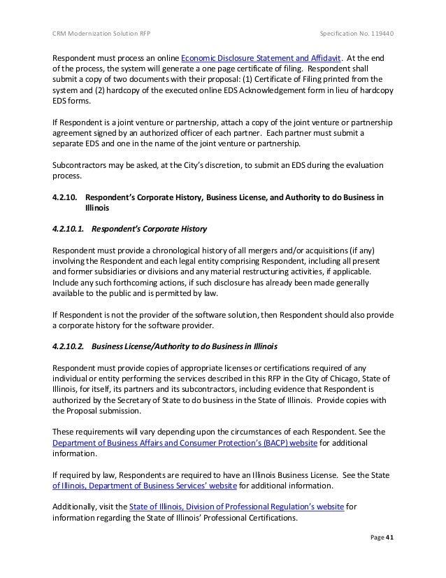 CRM Modernization Solution RFP Specification No. 119440 Page 41 Respondent must process an online Economic Disclosure Stat...