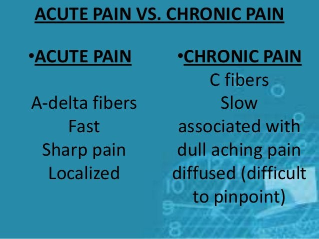 •ACUTE PAIN A-delta fibers Fast Sharp pain Localized •CHRONIC PAIN C fibers Slow associated with dull aching pain diffused...