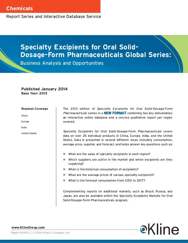 Chemicals Report Series and Interactive Database Service  Specialty Excipients for Oral SolidDosage-Form Pharmaceuticals G...