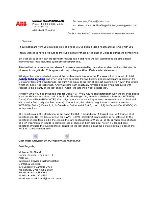 Muhanad Sharaf/USABB/ABB               To Normann_Fischer@selinc.com,            Phone: +1 614 818 6393 , Mobile:         ...