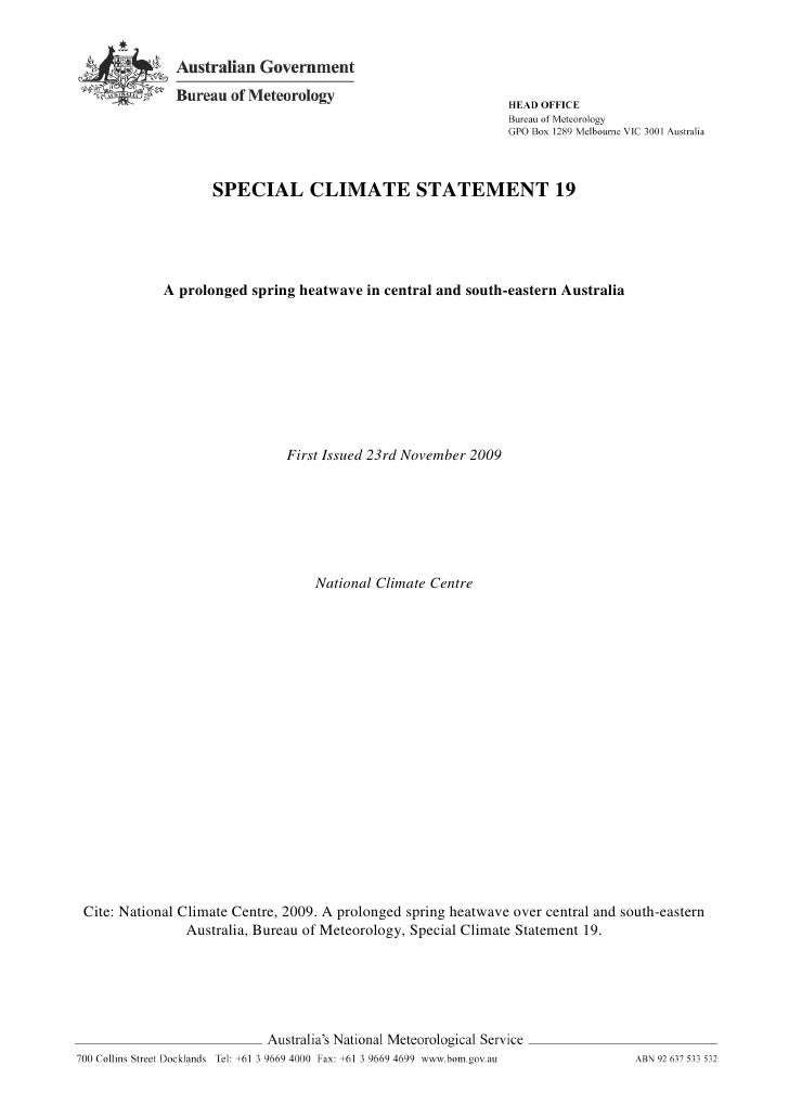 SPECIAL CLIMATE STATEMENT 19                A prolonged spring heatwave in central and south-eastern Australia            ...