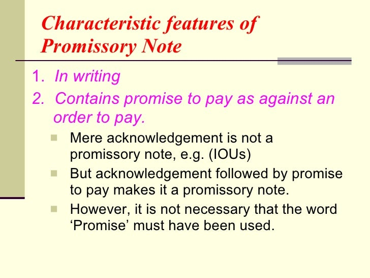 features of promissory note