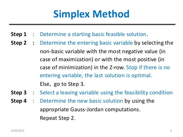 the simplex solution method essay Alternate optimal solutionsdegeneracy, up: the simplex method previous: linear programs in standard solution of linear programs by the simplex method.