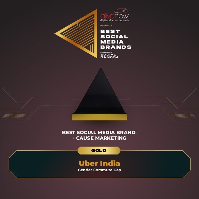 BEST SOCIAL MEDIA BRAND - CAUSE MARKETING Uber India Uber India Gender Commute Gap GOLD