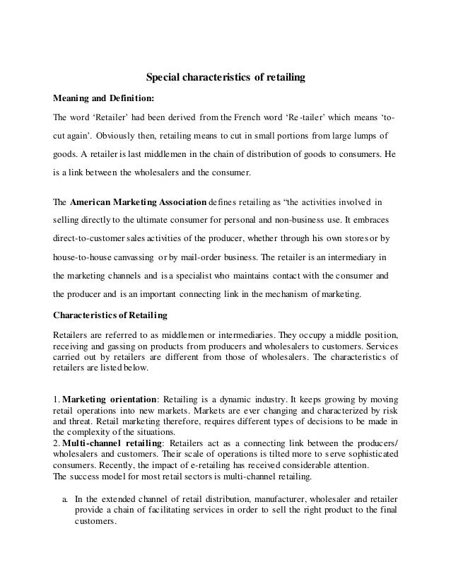Special characteristics of retailing