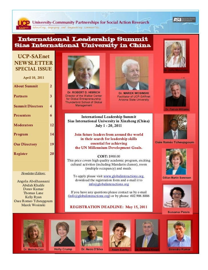 UCP-SAEnetNEWSLETTER SPECIAL ISSUE     April 10, 2011About Summit              2Partners                  3Summit Director...
