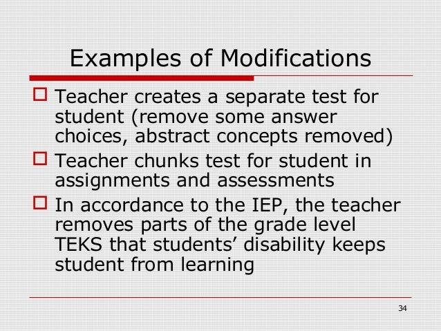 Examples of Modifications Teacher creates a separate test for  student (remove some answer  choices, abstract concepts re...