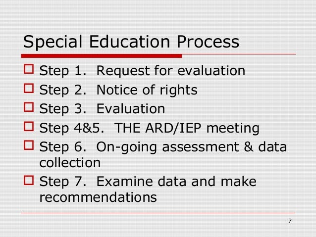 Special Education Process Step 1. Request for evaluation Step 2. Notice of rights Step 3. Evaluation Step 4&5. THE ARD...