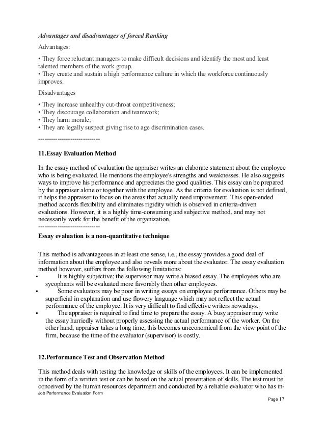 Special Education Teacher Aide Performance Appraisal Job Performance Evaluation Form Page   Research Paper Essay Format also English Short Essays  Buy Business Plans