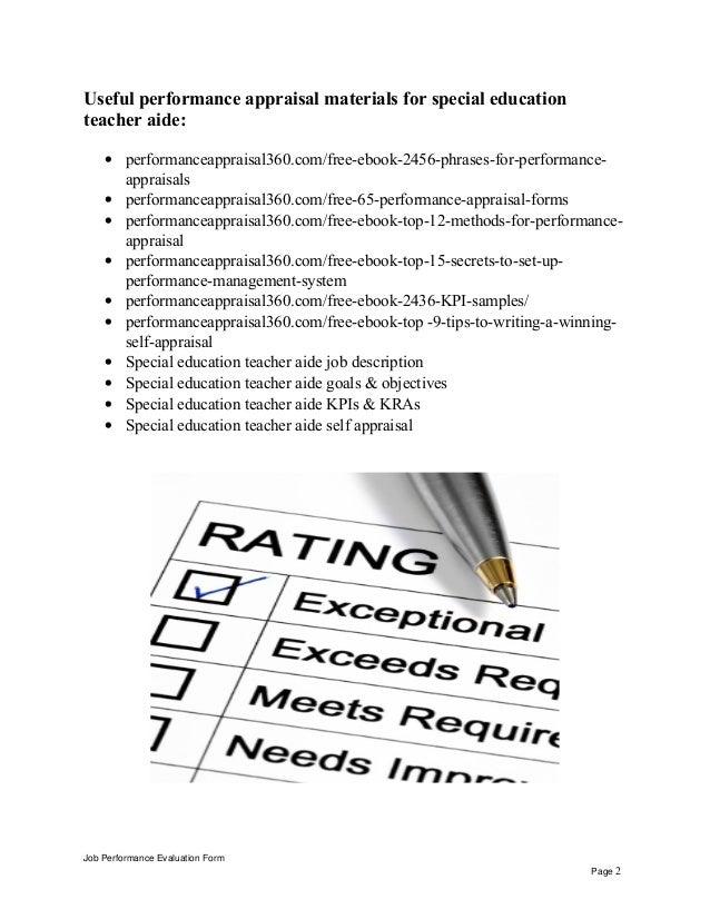 special education teacher aide performance appraisal job performance evaluation form page 1 2 teacher aides job description
