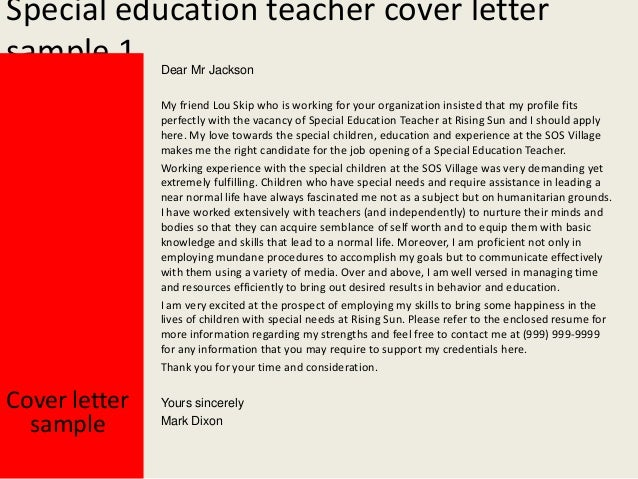 Free Special Education Teacher Cover Letter Sample