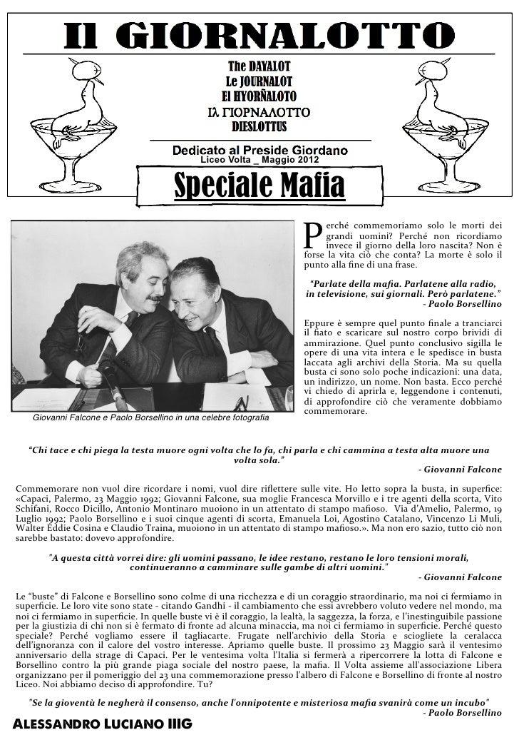 Liceo Volta _ Maggio 2012                                                              Speciale Mafia                     ...