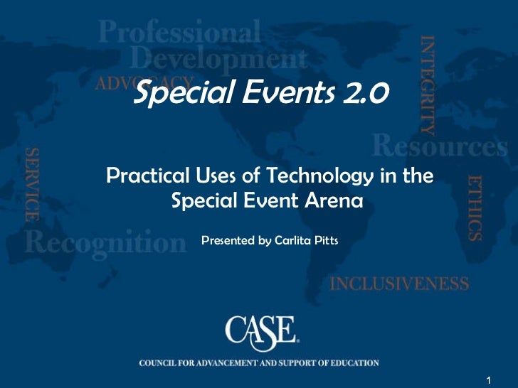 Special Events 2.0 Practical Uses of Technology in the Special Event Arena  Presented by Carlita Pitts
