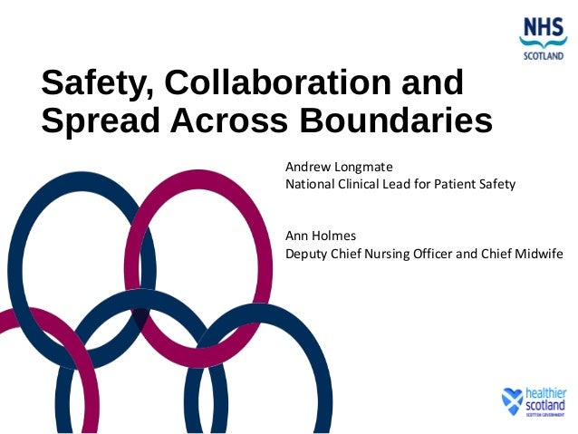Safety, Collaboration and Spread Across Boundaries Andrew Longmate National Clinical Lead for Patient Safety Ann Holmes De...