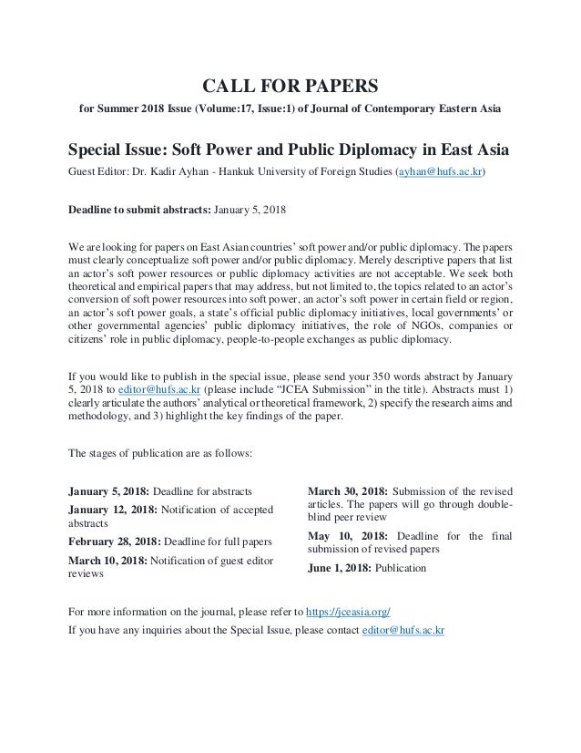 CALL FOR PAPERS for Summer 2018 Issue (Volume:17, Issue:1) of Journal of Contemporary Eastern Asia Special Issue: Soft Pow...