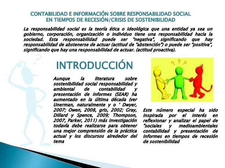 CONTABILIDAD E INFORMACIÓN SOBRE RESPONSABILIDAD SOCIAL       EN TIEMPOS DE RECESIÓN/CRISIS DE SOSTENIBILIDADLa responsabi...