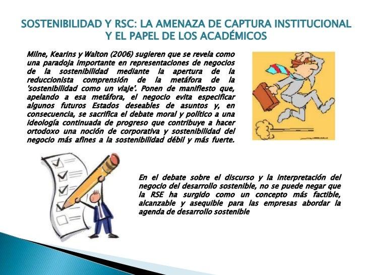 SOSTENIBILIDAD Y RSC: LA AMENAZA DE CAPTURA INSTITUCIONAL               Y EL PAPEL DE LOS ACADÉMICOSMilne, Kearins y Walto...
