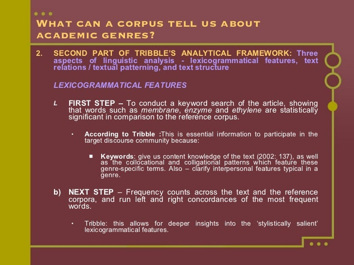 What can a corpus tell us about academic genres? <ul><li>2. SECOND PART OF TRIBBLE'S ANALYTICAL FRAMEWORK:   Three aspects...