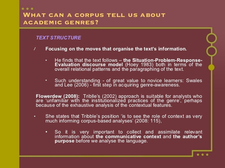 What can a corpus tell us about academic genres? <ul><li>TEXT STRUCTURE </li></ul><ul><ul><li>Focusing on the moves that o...