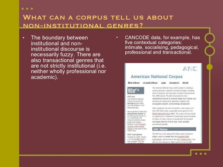 What can a corpus tell us about  non-institutional genres? <ul><li>The boundary between institutional and non-institutiona...