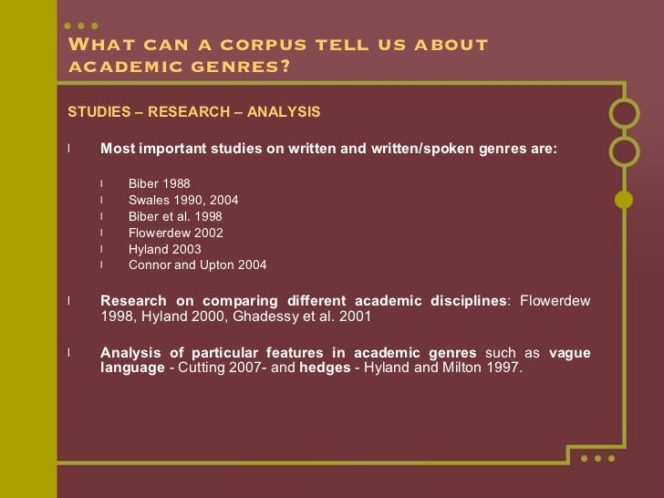 What can a corpus tell us about academic genres? <ul><li>STUDIES – RESEARCH – ANALYSIS </li></ul><ul><li>Most important st...