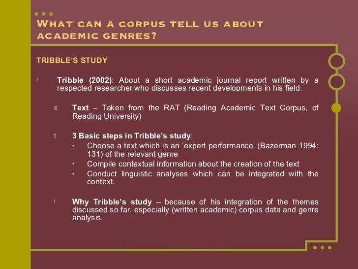 What can a corpus tell us about academic genres? <ul><li>TRIBBLE'S STUDY </li></ul><ul><li>Tribble (2002) : About a short ...