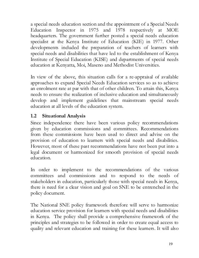 a special needs education section and the appointment of a Special Needs Education Inspector in 1975 and 1978 respectively...