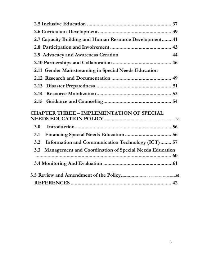 2.5 Inclusive Education .............................................................. 37 2.6 Curriculum Development ........