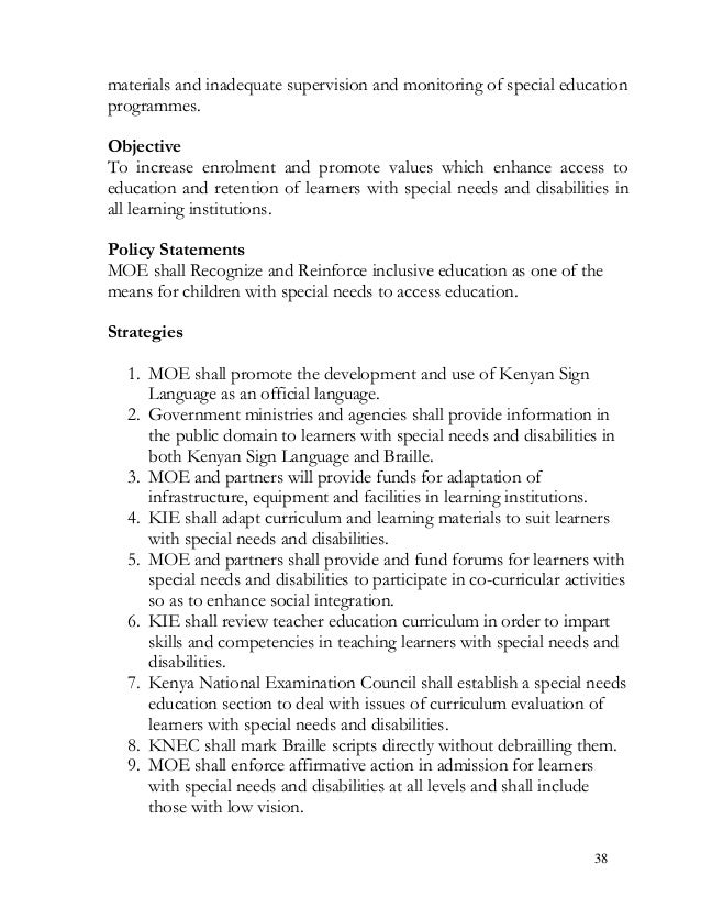materials and inadequate supervision and monitoring of special education programmes. Objective To increase enrolment and p...