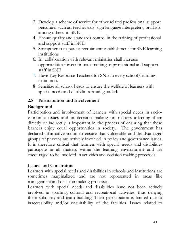 special needs education policy framework 2009 kenya